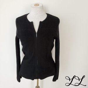 Talbots Sweater Cardigan Black Zipper Sturdy Knit